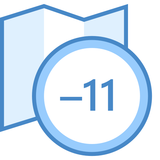 "Timezone -11 icon. The icon is of an unfolded road map with a small circle in front of it to the right. Inside the circle is ""-11"", indicating the number of hours subtracted to be that current timezone."