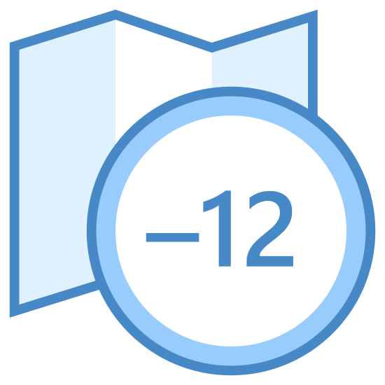 Strefa czasowa -12 icon. A timezone -12 icon is represented with a foldout map icon and on the edge of the map there is a circle with a -12 written inside. The map will have straight lines on both sides, but on the top and bottom there will be a zig zag pattern to show it's foldout component.