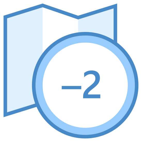 "Strefa czasowa -2 icon. It is a combination of two objects. One is a generic folded map-like object with a zig-zag top and bottom that is partially covered in dots. In the foreground is a circle with the number ""-2"" in the center."