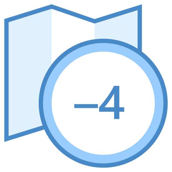 "Strefa czasowa +4 icon. It consists of two objects, one superimposed on the other. In the background is a semi-folded, generic map that has a zig-zag top and bottom and is covered in small dots. In the foreground is a medium-sized circle with the text ""+4"" in the middle."