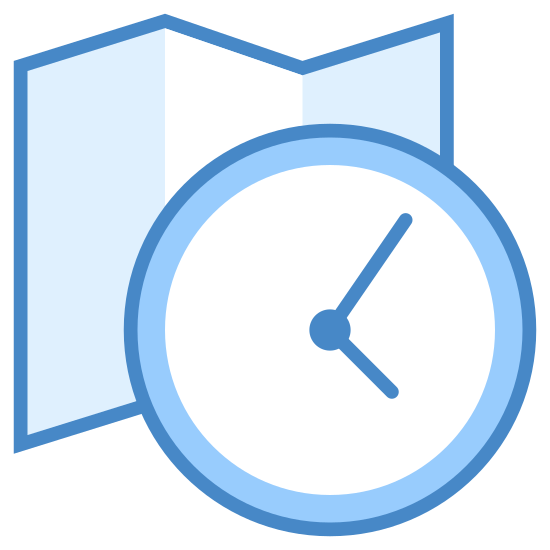 Timezone icon. This is an icon for representing a timezone. There is a folded piece of paper with vertical lines of dots grouped together. There is a clock covering part of the right side of the paper showing 8:00.