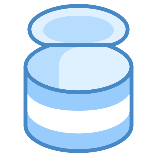 Lattina icon. This is a cylindrical item. It is standing on its flat surface. There appear to be bands encircling the cylinder at the top and bottom. Something round and flat is protruding from the top.