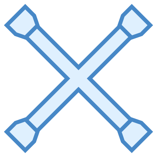 """Tire Iron icon. It's a logo for a tire iron that is depicted by an """"X"""".  The """"X"""" is made out of two tire irons that are crossing in the center.  Each tire iron are double straight lines with bulbs at the end.  Where they cross in the middle is a round circle not one on top of the other."""