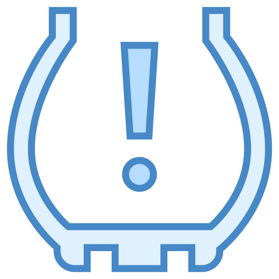 Давление в шинах icon. This icon is an icon you would see in your car for tire pressure. It shows an exclamation point inside of a half-circle. The bottom of the half circle is a jagged edge touching the ground.