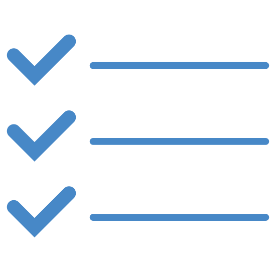Todo List icon. There are three equal length horizontal lines which are placed on top of each other with equal spacing between them and there are three tick marks which are of equal size towards the left side of each line. Also there is small spacing between each tick mark and the horizontal line.