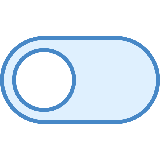 """Toggle Off icon. It is a logo of an """"off"""" button. There is a small circle on the left, inside larger pill shaped oval. By swiping the circle to the right, the object can be switched to """"off""""."""