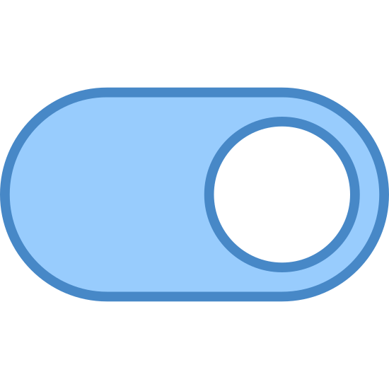 Włącz icon. This icon looks like a switch which can be toggled by sliding left to right. The border of the switch is a rounded oval, and the button itself is a circle which slides between two positions from left to right. The icon shows the circle in the right position.