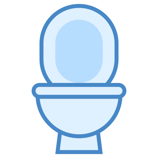 Muszla klozetowa icon. This is an image of a toilet bowl. The toilet bowl is seen from the front with a small rectangular base. Above the base is a semicircular bowl. The lid of the bowl is shown as two ovals, a larger one with a smaller oval in its center.