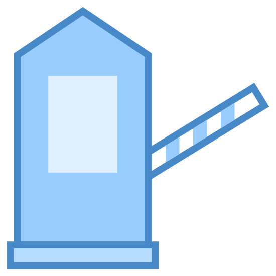 Tollbooth icon. The icon is a toll booth. It has a small building with a pointed roof and a window. Attached to the building, there is a long pole that can be lowered to prevent cars from passing. Once cars have stopped to pay, the pole will be raised to let them pass.