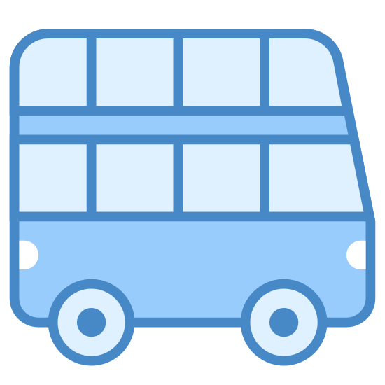 Tour Bus icon. This is a picture of a double decker bus. it has eight windows in total and you are seeing it from it's side. you can see that is can hold many people