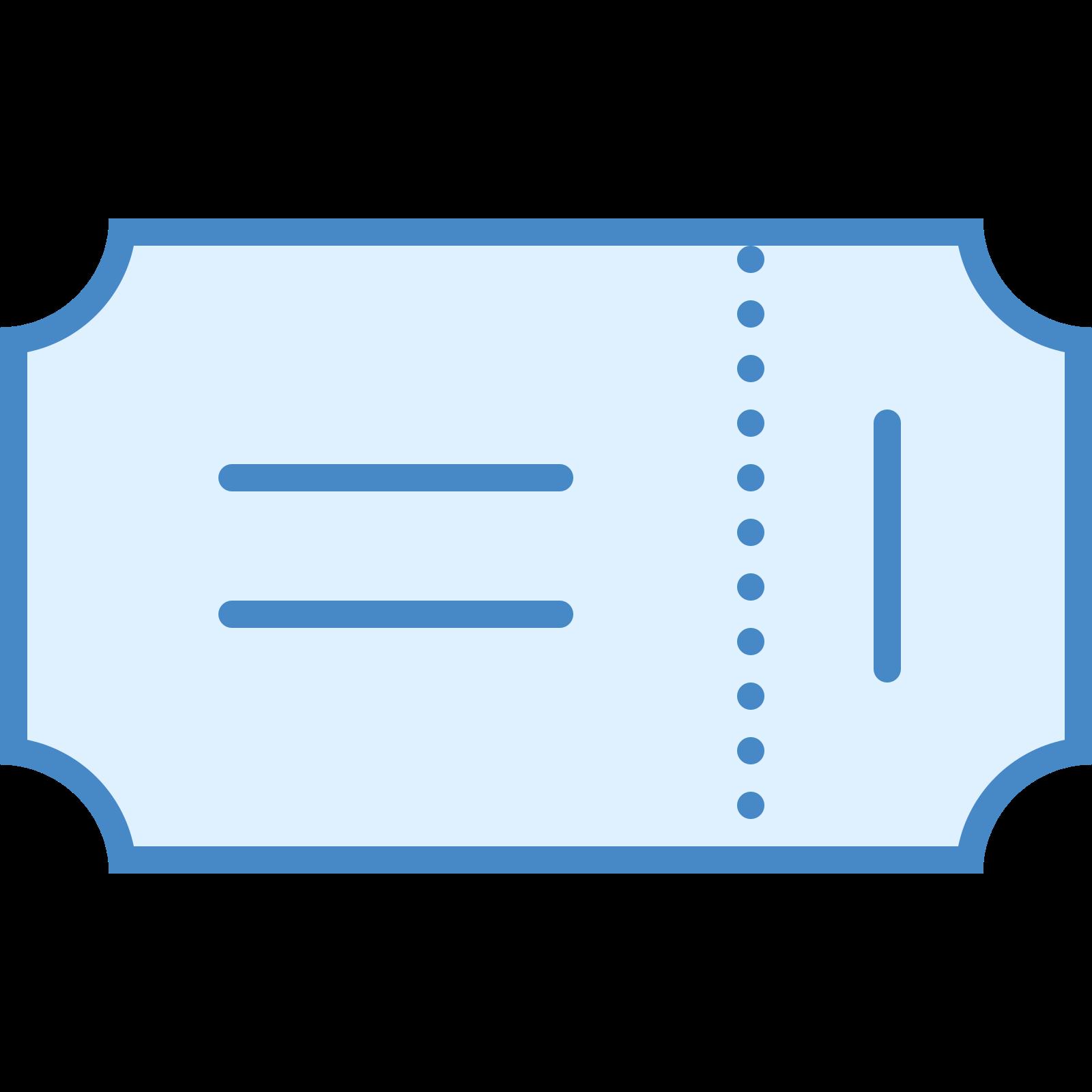 乗車券 icon. The icon is shaped like a horizontal rectangle but each of the corners are curved inwards. There is also a vertical dotted line running down the right side of the rectangle 3/4 of the way.