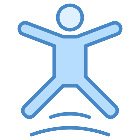 Trampoliny icon. This icon represents trampoline park. It is a body with arms and legs spread, it has a small circle head. Under the body's legs is two curved lines. The body appears to be jumping.