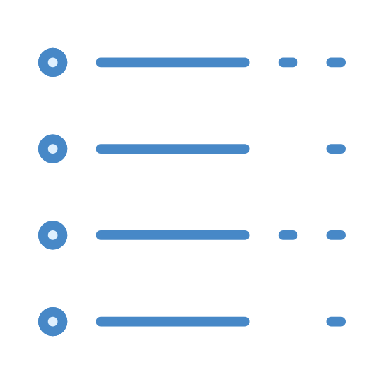 Transaction List icon. This looks like several lines. Five lines are aligned from top to bottom. There is a much smaller line to the left of each of the five lines. There are a couple dots to the right of each of the five lines.