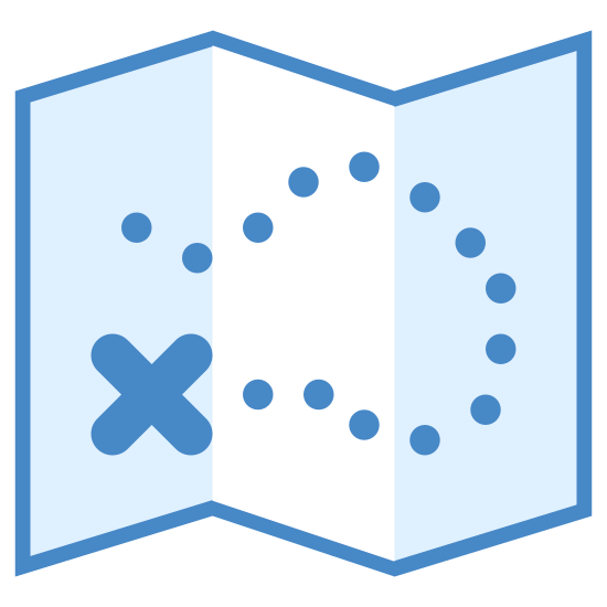 """Treasure Map icon. This is a treasure map. the dotted lines leading to the """"X', shows where the trail is going to find the treasure, which is what X means."""