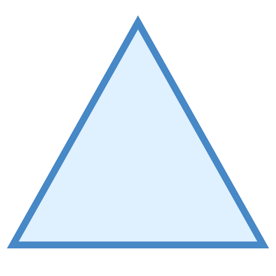 三角形 icon. The image is of a shape that has three sides. These three sides are all equal in lengths as well as angles. Noted that there are three angles; each angle connecting to one another to form this shape. These three angles are about sixty degrees each.