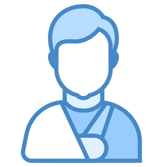Dreieckstuch icon. A graphic of the top half of a person. Their right arm is in a sling that hangs off of their right shoulder. It tapers outwards as it goes down, providing support to the entire forearm.