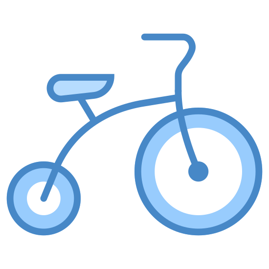 Triciclo icon. This is a tricycle. The front wheel is larger than the rear wheel. There is a seat on the frame which goes from the rear wheel to above the front wheel. There are forks that go from the front wheel up through the frame to the handlebars.