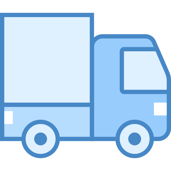 Truck icon. The icon has rounded edges, and is a stylized image of a motorized vehicle with four wheels that will hold two people in front, and can carry a large amount of cargo in back.