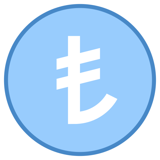 Turkish Lira icon. This shows an icon that represents the Turkish Lira. There is a circle and inside is the symbol for a Turkish Lira with looks like a backwards J with two parallel lines through the top.
