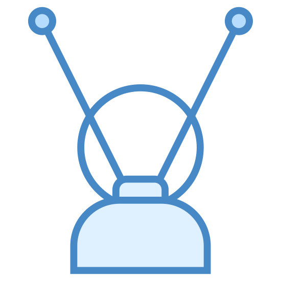 Antena de TV icon. It's an image of a TV antenna.  Their are two antenna that are straight and long, with little balls at the top.  The antenna protrude from the top part of a half circle.  The half circle is sitting directly above a horizontal line that indicates a surface.