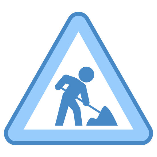 Under Construction icon. The icon is triangular with rounded corners. Inside of the triangle is a man holding a tool of some kind. He looks to be shoveling a pile of dirt or rocks.