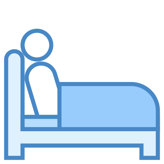 Schlaflosigkeit durchmachen icon. The image is of a bed with a person on it. The bed has a headboard which is on the left side. The profile of the person is shown as they are sitting up on the bed with their back to the headboard. They are facing right.