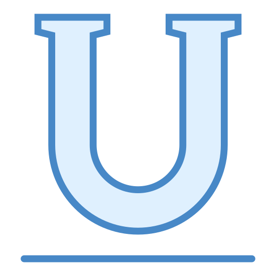 "Sublinhado icon. The Icon ""Underline"" consists of the outline of a capitalized letter ""U"" in bold. Beneath his has been placed a bold line drawn horizontally signifying an underlined letter."