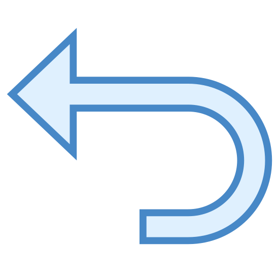 Desfazer icon. The icon shows an arrow that is pointing to the right, which has a base with a 90 degree turn. This icon would be seen for an undo button for a document on a computer or similar.