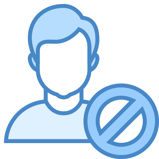 Unfriend icon. There is the outline of a male head and shoulders. Covering part of one shoulder, as though in front of the outline, is a circle with a slash inside it going from the upper right to the lower left area.