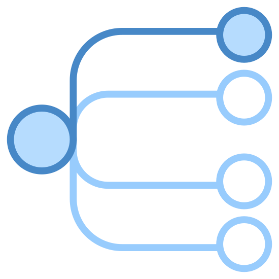 Unicast icon. To the left is a single circle. a squiggly arrow is attached to this circle. to the right of the circle are four small circles stacked on top of each other. the arrow is pointing at the second circle from the bottom.