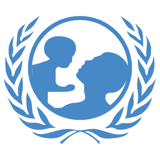 UNICEF icon. The image is a globe with an adult and a baby inside. The baby is a little higher than the adult like they're being held up. The globe is almost completely surrounded by olive leaves but it doesn't fully enclose the top part of the globe.