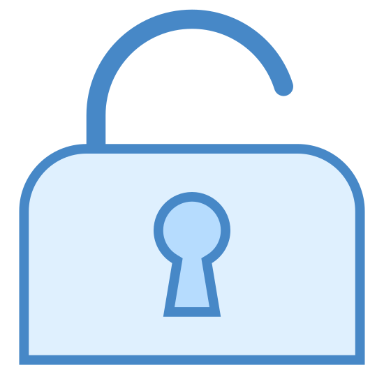Padlock icon. This icon looks just like a padlock. The base of the lock is a square with slightly rounded edges. There is a circular shape in the center that looks just like where you would place a key. The hasp of the lock is on top and is simply a half circle tilted slightly to the left to indicate the lock is open.