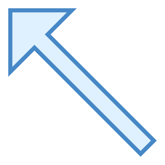 Up Left icon. This is an arrow pointing up and left (or -45 degrees if up is 0 degrees).   It's a basic line going from the bottom-right to the upper-left and then an arrowhead on that line continue to point to the upper-left.