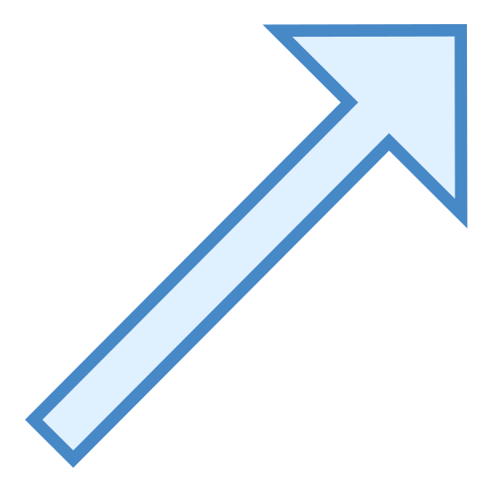 Up Right icon. It's an arrow pointing straight up and angled to the right.  The direction that could also be used to describe this arrow is much like you would see if looking at a compass and it pointed to a north east direction.