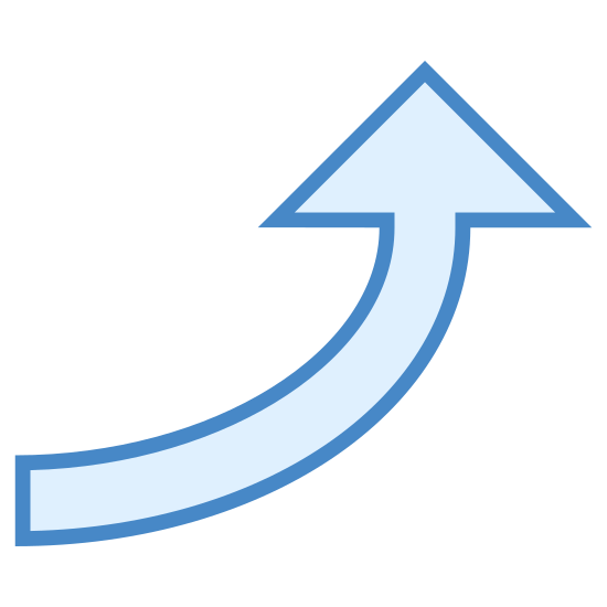 Up 2 icon. The icon is a logo for Up 2. It is a large arrow curving upward increasing in size the higher it gets.