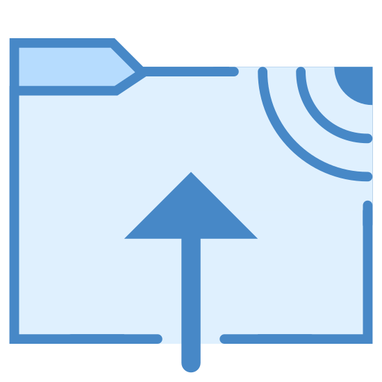 Закачать на FTP icon. There is a folder, there is an arrow drawn over the folder that starts at the bottom and is placed right in the middle of it pointing upwards. In the upper right corner of the folder there is several beaming diagonal lines that look like WiFi or some wireless signal.
