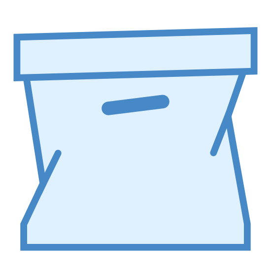 Подержанный icon. This icon is depicting a closed cardboard box with the edge of the box protruding and crumpled as if to indicate it in poor shape or used. There is a small hole cut in the side of the box as a handle.