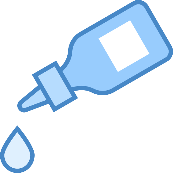 Kropla Szczepionki icon. A small bottle with a squarish shape is tilted downward at an angle. The bottle has a liquid dropping cap. A tear shaped drop falls from the cap.