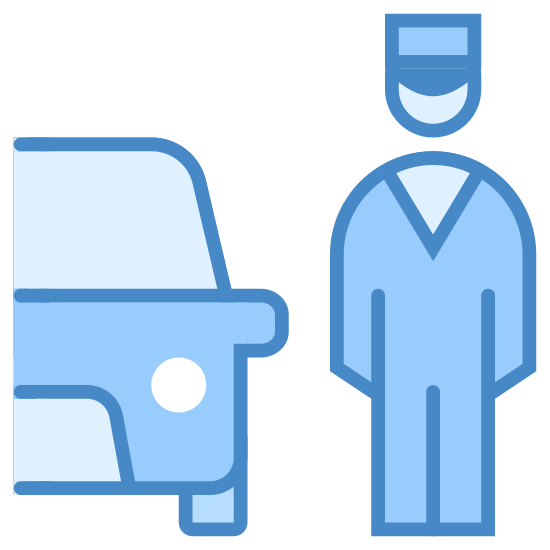 Valet Parking icon. There is the right half of a car facing forward. Standing to the right is a man wearing a brimmed hat.