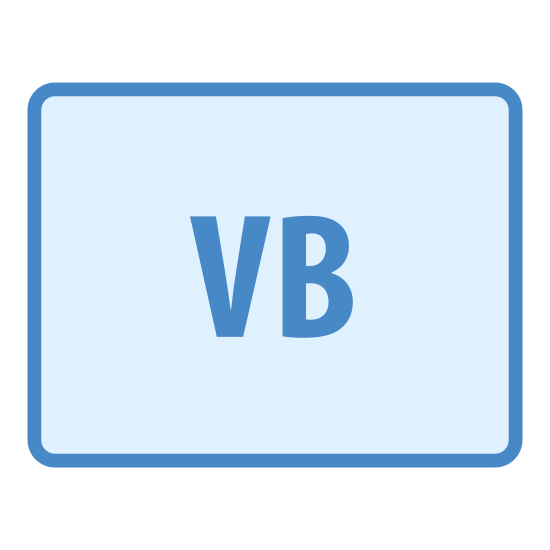 VB icon. The logo is square shaped with four slightly rounded corners. In the interior center part of the logo are the letters VB, both capitalized and right next to each other.