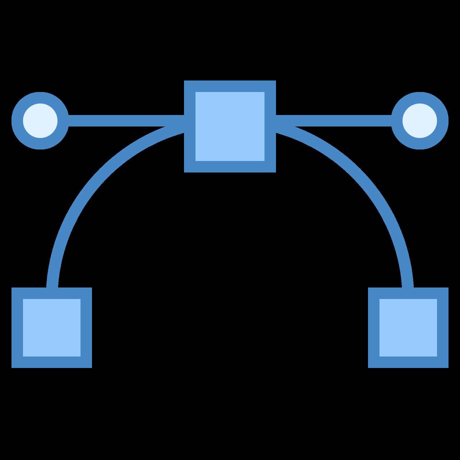 ベクター icon. This is an icon to represent a vector. There is a horizontal line on top with a dot on either side. There is a square in the middle of this line. There are two curved lines going downward away from the square with a square of the same size at the end of each of the curved lines.