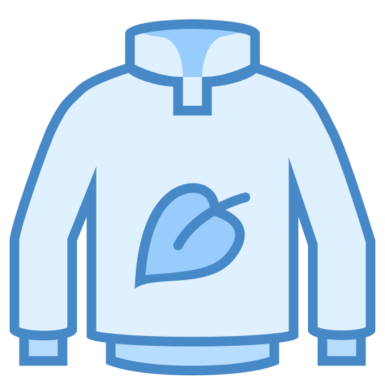 Vegan Clothing icon. The icon is a logo of Vegan Clothing. It is the shape of a jacket or coat, with a leaf emblem on the front of it.