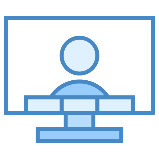Konferencja wideo icon. This is a picture of an LCD television with a person on the screen. underneath the person is four blocks in a horizontal pattern. you can see the base of the tv is flat.