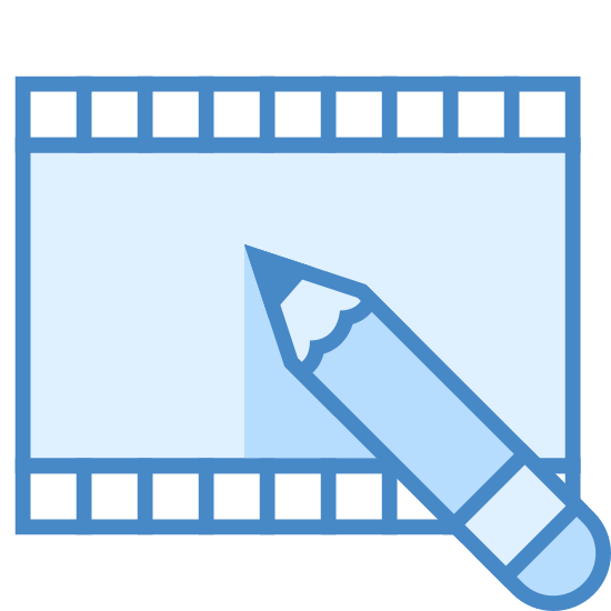 Редактирование видео icon. This icon for video editing depicts a flat section of a roll of film. The film is rectangular in shape, with tiny rectangles running along the entire top and bottom. There is also a pencil situated at the bottom of the roll of film, which is partially on the film.