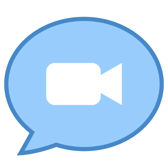 Wiadomość wideo icon. This icon shows a typical comic speech bubble which indicates that someone is speaking - it's a large circle that has a little tail pointing to someone speaking. Inside the speech bubble is the icon for a video which is a rectangle with a small triangle on the front of it to illustrate a videocamera.