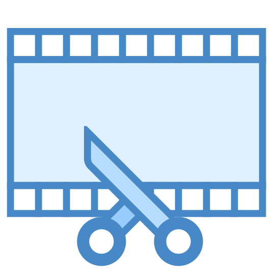 Video Trimming icon. This icon represents video trimming. It is a rectangle with small squares on the top and bottom. In the middle is a line cutting across and leading down into two handles which represents scissors.