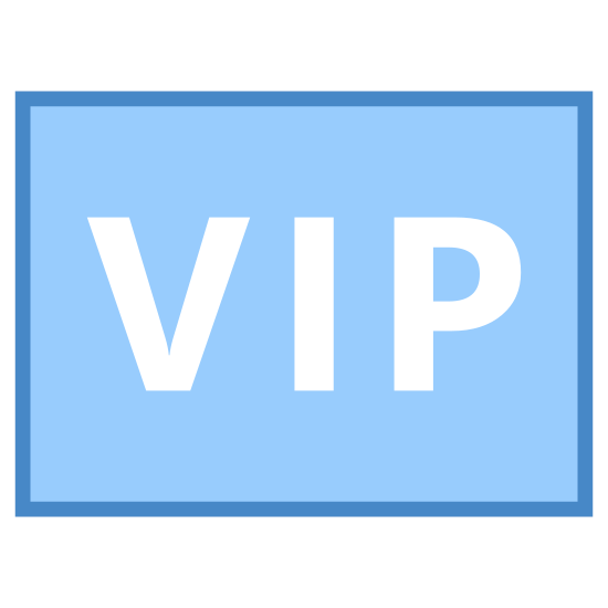 VIP icon. The icon is a picture of the logo for VIP. The icon is in the shape of a rectangle. The rectangle has curved edges. Located in the very center of the rectangle are the words VIP.