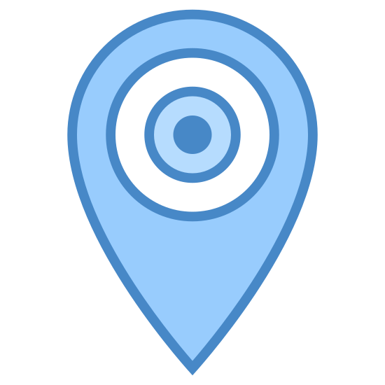 Visit icon. There is a upside down droplet shape. inside of it, there is a circle with an eyeball in it. the eye ball is black and has a light coming off from it.