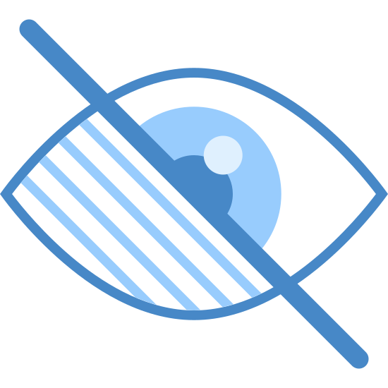 Upośledzenie wzroku icon. The first portion of the icon is a diagonally line that runs through the second portion as if it is striking through the background, second portion. The second portion is shaped like a human eye where one side, the left side has three smaller diagonal lines. The right side of the eye is a normal eye with the pupil a semi circle running into the diagonal line strike through.
