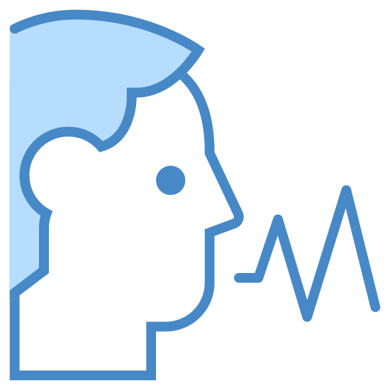 Rozpoznawanie głosu icon. This logo displays an outline of a male human head with its mouth slightly open, as if speaking. From the mouth, a zigzag pattern emerges, which is signifying sound waves travelling outward.